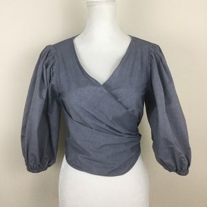 Elizabeth and James Blouse Blue Chambray Wrap Top